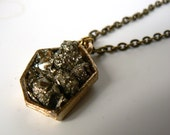 Fool's Gold Geometric Brass Necklace