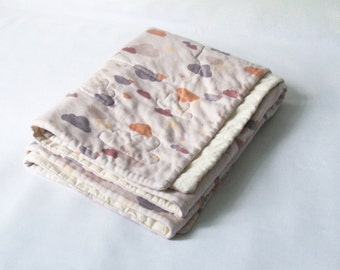 Made to order - organic cotton baby quilt - sweet lilac clouds and cream