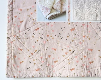 organic cotton baby quilt - tiny triangles in pale pink and cream - made to order