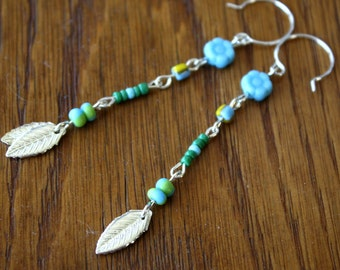 Blues and Greens long beaded earrings sale