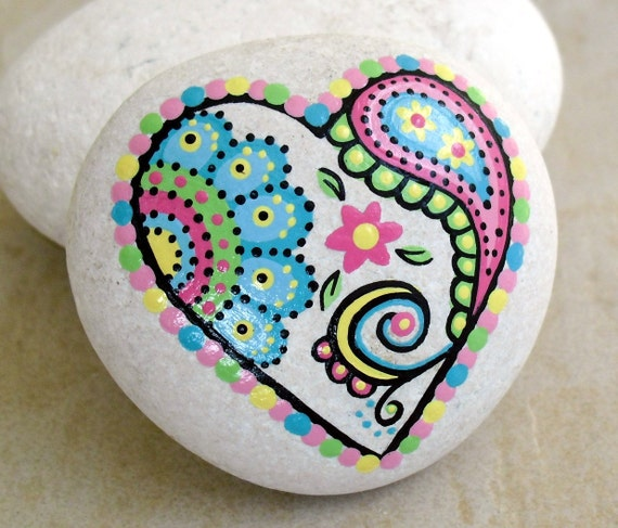 Hand Painted Abstract Heart Flower Paisley Art River Rock
