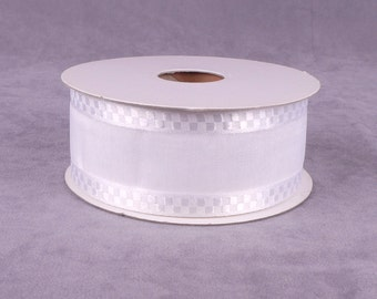 25 yds Wide White Checked Organza Ribbon (ORC112W)