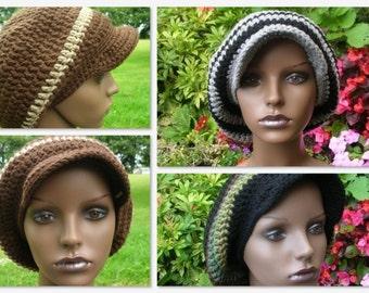 Visor Slouch Hat/Rasta Tam Crochet Pattern