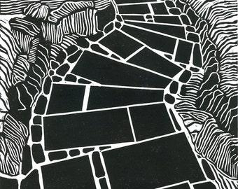 Linocut Print - JAPANESE GARDEN STEPS - 9x13 Garden Landscape Print - Ready to Ship