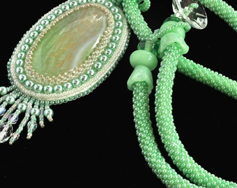 Mint Julip  -  hand beaded necklace in  white and mint green vegan jewelry