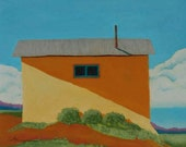 Adobe House/ Truchas New Mexico / Plein Air / Pastel Painting / by Diane Cutter / matted for 11x14 frame / SFA