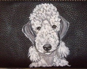 Bedlington Terrier Dog Custom Hand Painted Ladies Leather Wallet for women