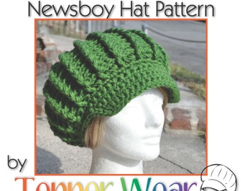 Crochet Hat Pattern - Ribbed Newsboy Hat Pattern - Pattern for Crochet Hat with Brim - Instant Download