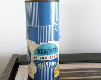 50s 60s Keapsit Thermos Vintage Vacuum Bottle Flask - Blue - Original Paper Label - Mid Century MCM - New Old Stock NOS