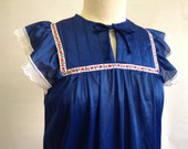 1970s Vintage Navy Blue Nightgown by Jennifer Dale Size Small Medium