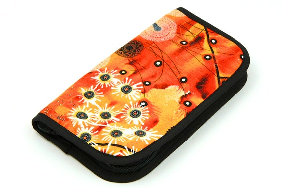 Travel Zip Around Knitting Needle Case - Bellflower - with Black Pockets zipper