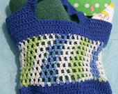 Crochet Market Tote Bag Pattern, Blue Stripes Tote