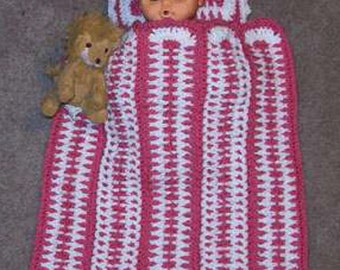 Doll Baby Afghan and Pillow Set Crochet Pattern