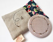 Ring of Bees Pocket Mirror with Embroidered Bee Linen Pouch Supporting the BBKA Blue Version