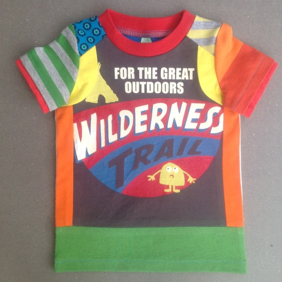 Sale Upcycled Boys Tshirt  Wilderness Size 12 m.up to 2T (Europ.size 86/92)