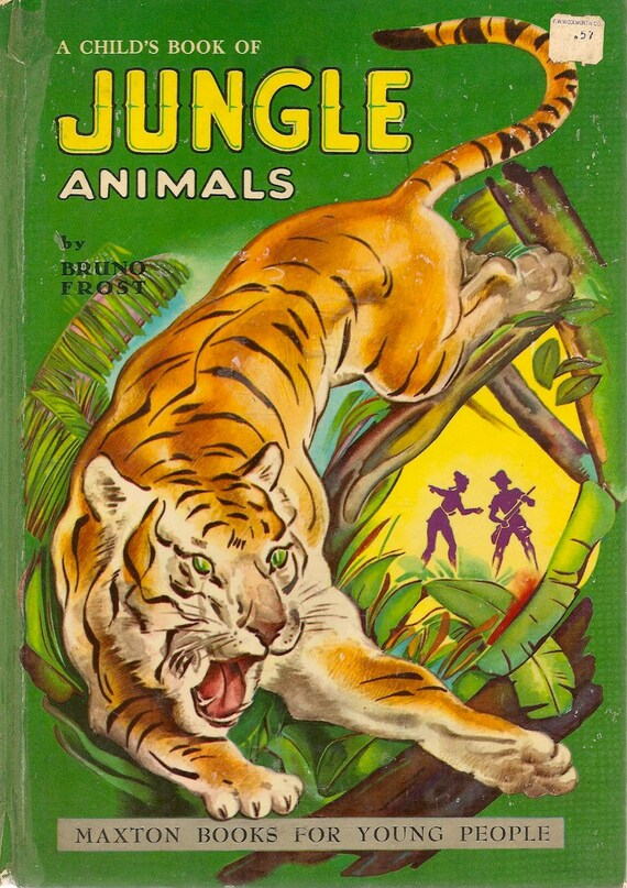 Vintage kids book a child 39 s book of jungle animals by for Classic jungle house for small animals