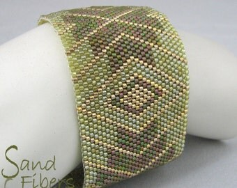 Verdant Enchantment Peyote Cuff  Bracelet - A Sand Fibers Made-to-Order Creation