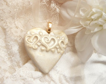 Wedding Jewelry, Ivory Heart Pendant, Heart Bouquet Charm, Wedding Accessories, Bride Gift, Bridesmaid Gift, handmade polymer clay