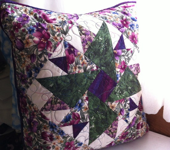 Purple and Green Floral Quilted Patchwork Pillow Cover