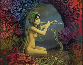 Snake Charmer Art 5x7 Card Pagan Mythology Psychedelic Bohemian Gypsy Goddess Art