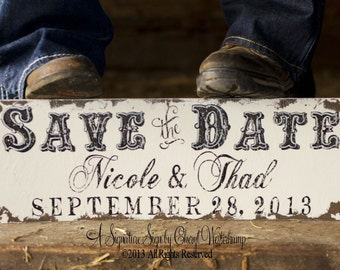 Save The Date Sign | Newly Engaged | We're Engaged | Engagement Photo Props | Gift for Engaged Couples | Barn Wedding | Western Wedding