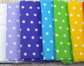 Fat Quarter polka dot Lot  asst pieces stash building crafts sewing quilt doll clothes scrapbook