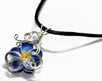 Made to Order - Design 09 - Aromatherapy Wire Wrapped  Polymer Clay Tropical Flower Bead PERFUME Pendant
