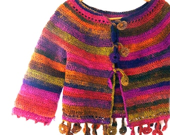 Dancing poppies cardigan - Crochet PATTERN for ladies cardigan size XS to XL