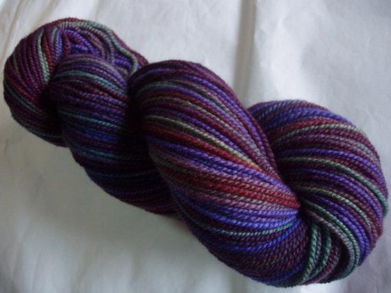 Handspun merino yarn, hand painted merino yarn, Night On The Moors, double knit yarn, sport weight yarn, 3.5oz, 290yds