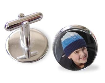 Custom Photo Cuff links -Personalized for Dad or Wedding -  Men's Keepsake - Father's Day, Wedding, Groom