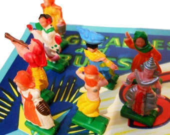 5pcs TINY PLASTIC DOLLS Vintage Painted Rubber