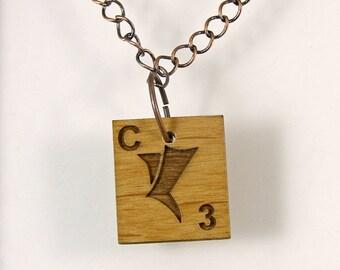 Klingon Scrabble Letter C Necklace