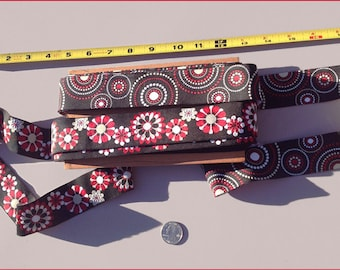 """Red black and white 1.5"""" ribbon-  20 yards in stock"""