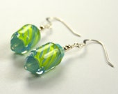 Lime & Aqua Striped Cane Glass Vintage Inspired Earrings with Sterling Silver and Swarovski crystal accents