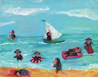 Possums Playing at Beach, Opossum Art, Original Painting on Canvas, acrylic painting, funny animal art, ocean art, possums seascape beach