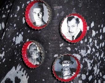 Classic Men of Horror Set 2 Upcycled Bottlecap Magnets Set of 4