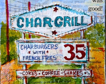 "Hamburger Heaven mixed media Char Grill Raleigh N.C. restaurant sign painting PRINT 5""x5"""