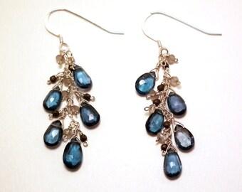 Tarina - London blue topaz, grey moonstone, and pyrite earrings