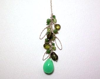 Panthea - Chrysoprase, green tourmaline, vesuvianite, green Peruvian opal, peridot, jade, green garnet, and crystal quartz necklace
