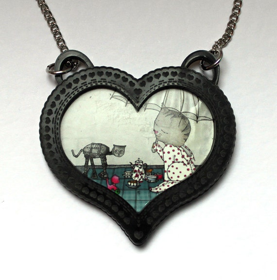 Cat Necklace Cameo heart - black acrylic - Jewelry - tea party - Cat-at