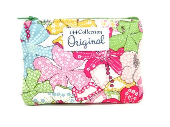 Coin Purse - Liberty of London Fabric Pink Floral Change Zipper Purse