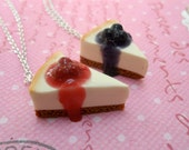 BFF Cheesecake Necklaces: Best Friend Jewelry Necklace, Miniature Food Jewelry, Polymer Clay Food