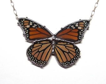 Real Monarch Butterfly Necklace - Statement Necklace - Wearable Nature Art