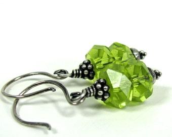 Tart Apple, Chinese Crystal, Sterling Silver Earrings