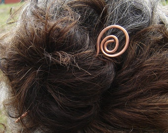 Open Spiral Copper Hair Stick, Shawl Pin, Long Hair Accessories, Bun Holder, Hair Jewelry, Hair Pin, Metal Hair Toy - Women