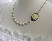 Ivory Flower and Brass Oval Bridesmaids Wedding Necklace