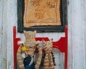 Primitive Cat Doll Stitchery Sampler Pattern EPattern PDF Fish  Folkart Folk Art  by Hickety Pickety 064