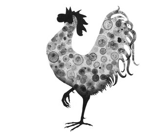 Rooster 8x10 print of my original ink painting, animal painting, ink bubble art