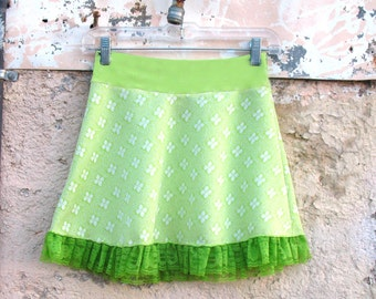 Fleur de Lime MINISKIRT from vintage fabric - Sm Med Large XL white green skirt polka dot girl teen womens skirt absinthe neon clothing eco