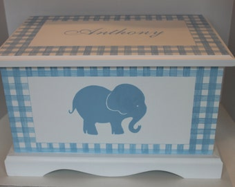 Baby Keepsake Chest Memory Box personalized - Gingham Elephant baby gift hand painted